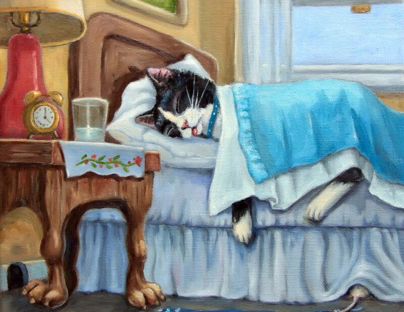 Картинки спящих котов рисунки